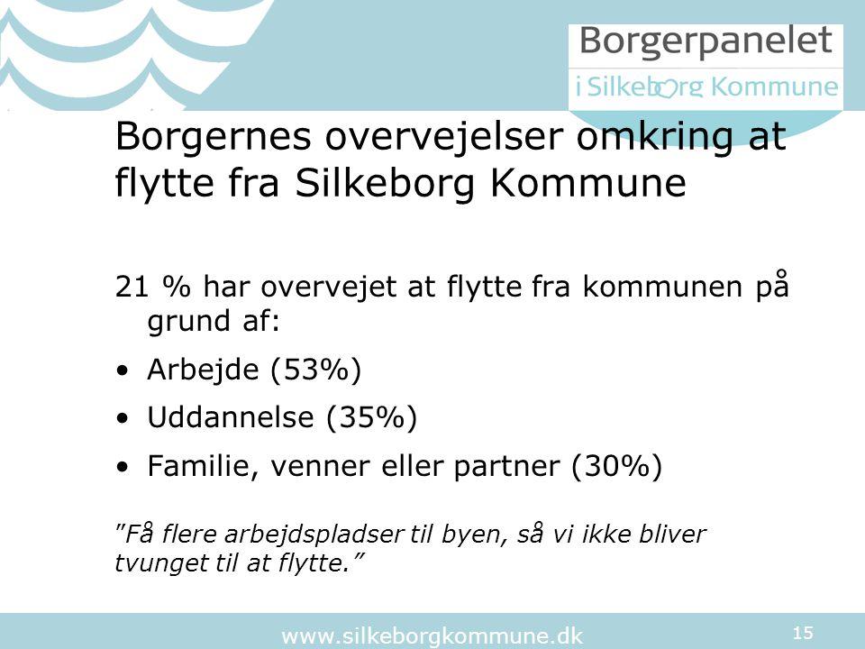 15 www.silkeborgkommune.dk Borgernes overvejelser omkring at flytte fra Silkeborg Kommune 21 % har overvejet at flytte fra kommunen på grund af: Arbejde (53%) Uddannelse (35%) Familie, venner eller partner (30%) Få flere arbejdspladser til byen, så vi ikke bliver tvunget til at flytte.
