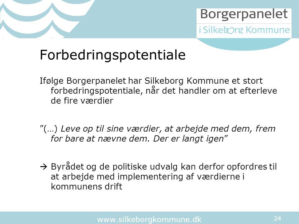 24 www.silkeborgkommune.dk Forbedringspotentiale Ifølge Borgerpanelet har Silkeborg Kommune et stort forbedringspotentiale, når det handler om at efterleve de fire værdier (…) Leve op til sine værdier, at arbejde med dem, frem for bare at nævne dem.