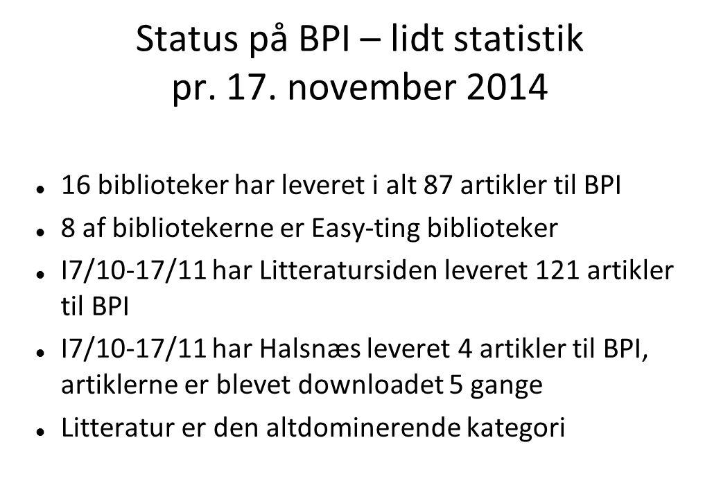 Status på BPI – lidt statistik pr. 17.