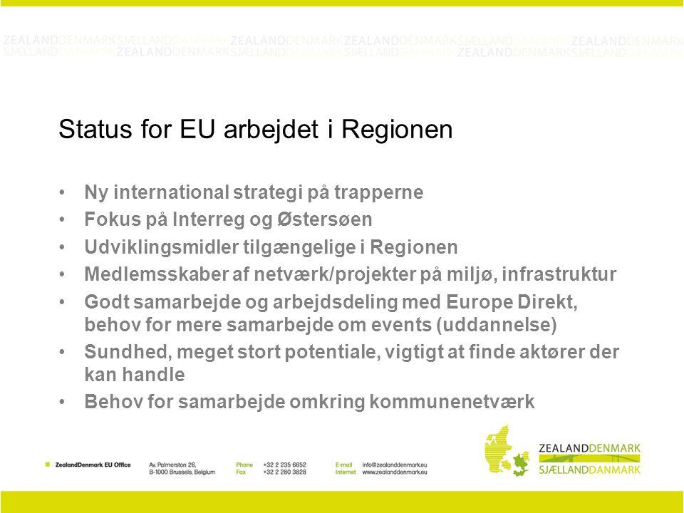 Status for EU arbejdet i Regionen Ny international strategi på trapperne Fokus på Interreg og Østersøen Udviklingsmidler tilgængelige i Regionen Medlemsskaber af netværk/projekter på miljø, infrastruktur Godt samarbejde og arbejdsdeling med Europe Direkt, behov for mere samarbejde om events (uddannelse) Sundhed, meget stort potentiale, vigtigt at finde aktører der kan handle Behov for samarbejde omkring kommunenetværk