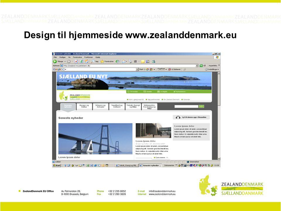 Design til hjemmeside www.zealanddenmark.eu