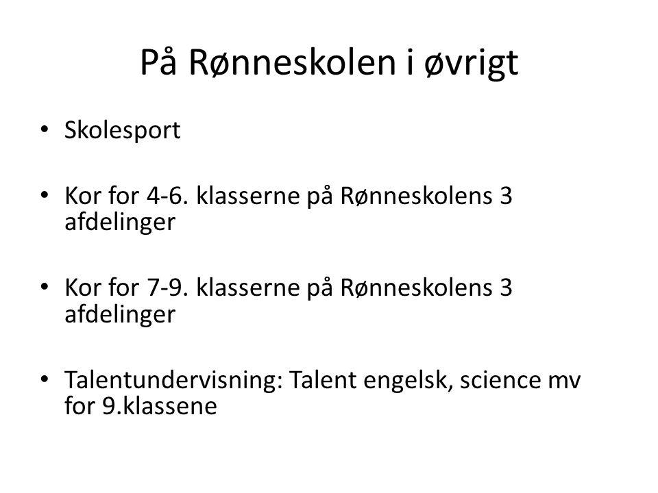 På Rønneskolen i øvrigt Skolesport Kor for 4-6. klasserne på Rønneskolens 3 afdelinger Kor for 7-9.