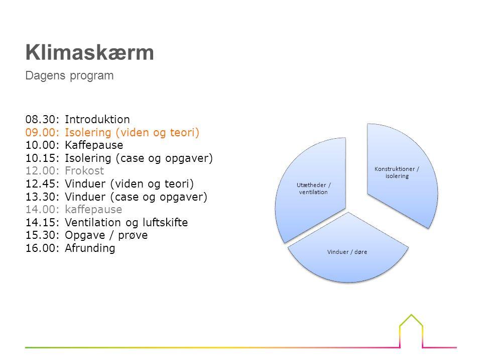 Isolering (Viden og teori) Introduktion Klimaskærmen Fokusområder Krav fra bygningsreglement Rentabilitetsberegning U-værdier og transmissionstab SBI regneark til beregning af varmetab Beregningsprogrammer og værktøjer Omregning af konstruktionens U-værdier på baggrund af graddøgn Isoleringsmaterialer Efterisolering