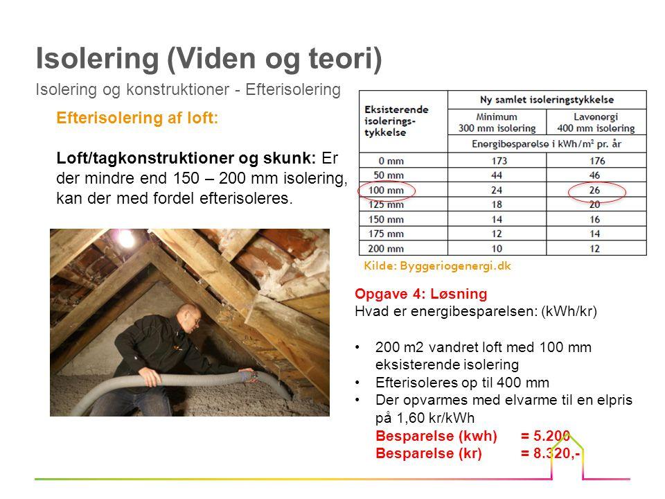 Efterisolering af loft: Loft/tagkonstruktioner og skunk: Er der mindre end 150 – 200 mm isolering, kan der med fordel efterisoleres.