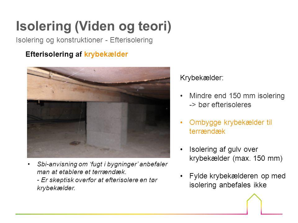 Efterisolering af krybekælder Krybekælder: Mindre end 150 mm isolering -> bør efterisoleres Ombygge krybekælder til terrændæk Isolering af gulv over krybekælder (max.