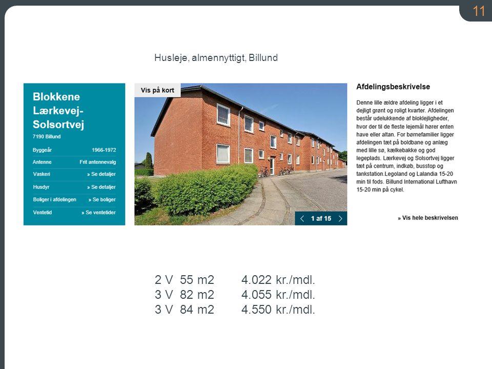 11 2 V 55 m2 4.022 kr./mdl. 3 V 82 m2 4.055 kr./mdl.