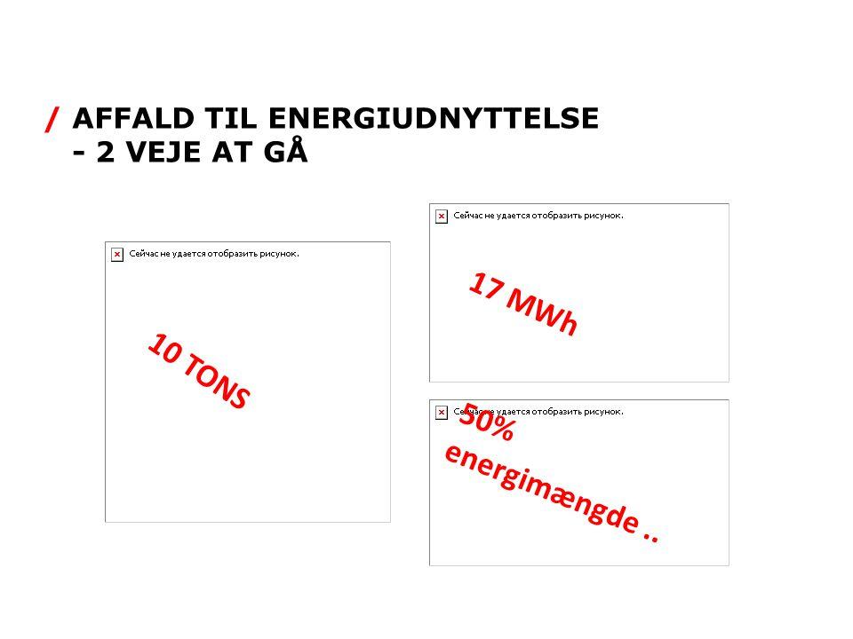/ AFFALD TIL ENERGIUDNYTTELSE - 2 VEJE AT GÅ 10 TONS 17 MWh 50% energimængde..