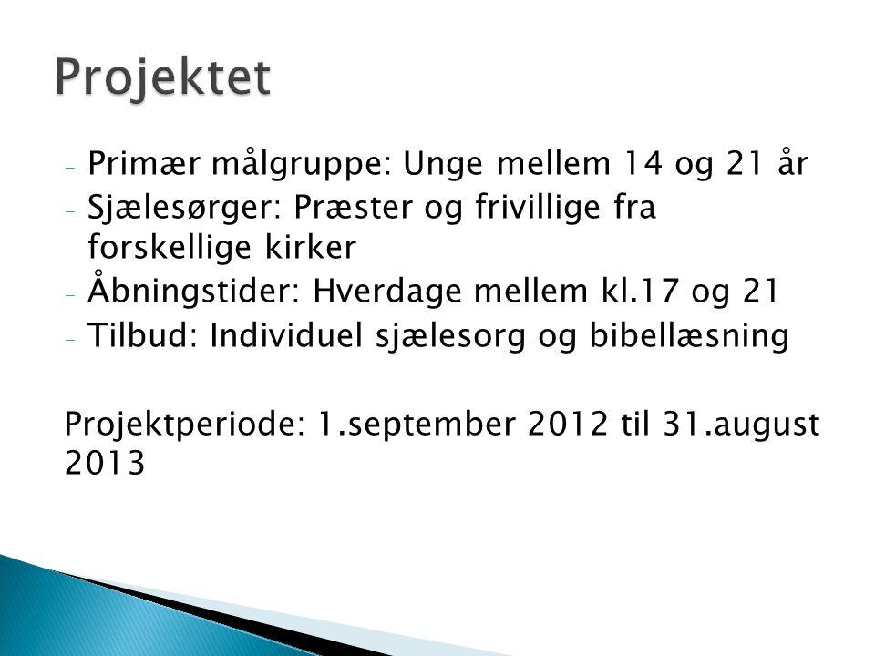 - Primær målgruppe: Unge mellem 14 og 21 år - Sjælesørger: Præster og frivillige fra forskellige kirker - Åbningstider: Hverdage mellem kl.17 og 21 - Tilbud: Individuel sjælesorg og bibellæsning Projektperiode: 1.september 2012 til 31.august 2013