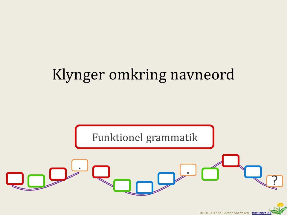 Funktionel grammatik.. © 2013 Anne Grethe Sørensen - ukrudtet.dkukrudtet.dk Funktionel grammatik..