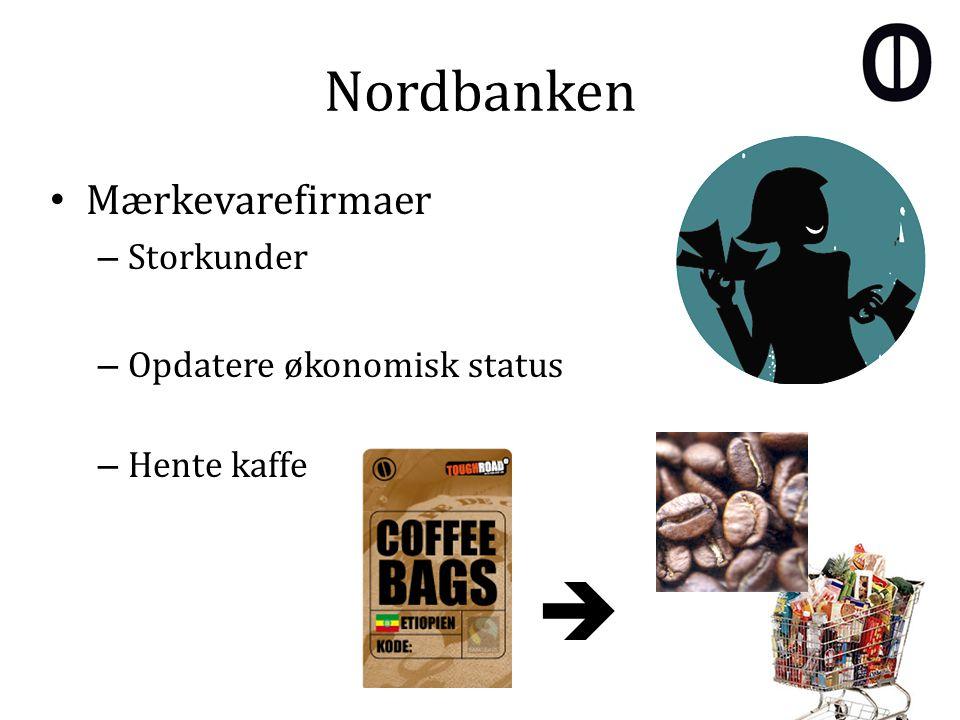 Nordbanken Mærkevarefirmaer – Storkunder – Opdatere økonomisk status – Hente kaffe 