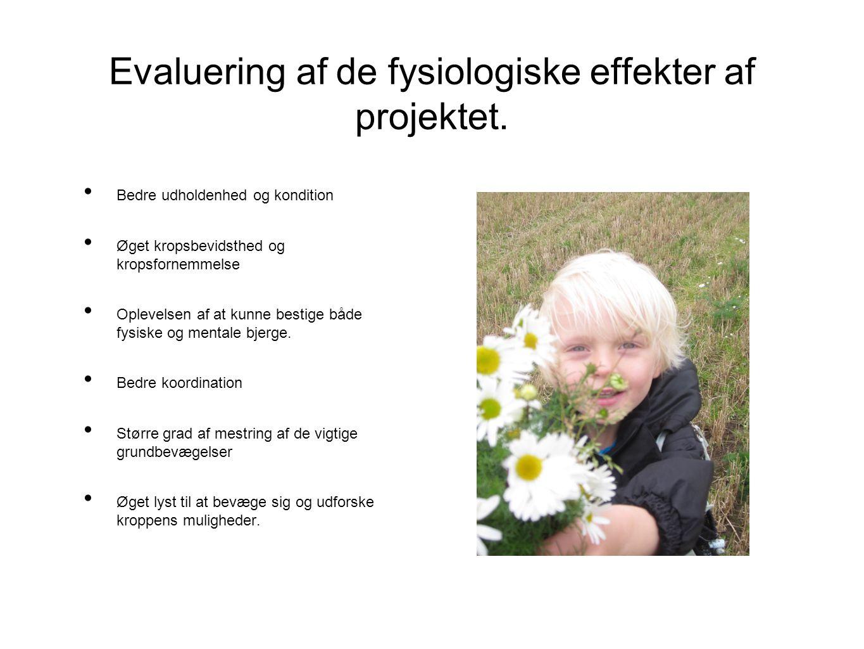 Evaluering af de fysiologiske effekter af projektet.