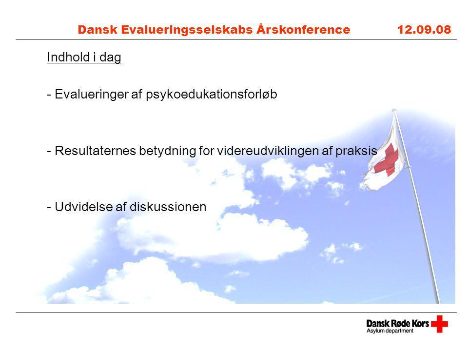 Dansk Evalueringsselskabs Årskonference 12.09.08 Indhold i dag - Evalueringer af psykoedukationsforløb - Resultaternes betydning for videreudviklingen af praksis - Udvidelse af diskussionen
