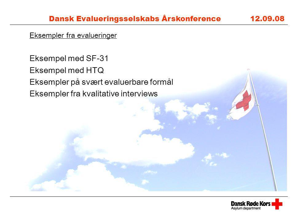 Dansk Evalueringsselskabs Årskonference 12.09.08 Eksempler fra evalueringer Eksempel med SF-31 Eksempel med HTQ Eksempler på svært evaluerbare formål Eksempler fra kvalitative interviews