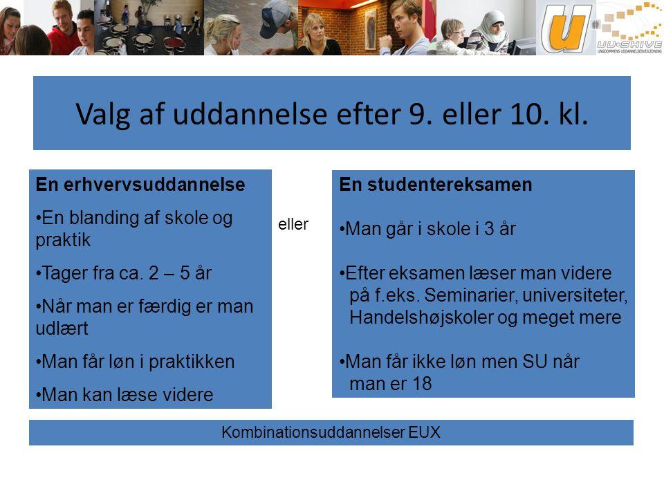 Valg af uddannelse efter 9. eller 10. kl.