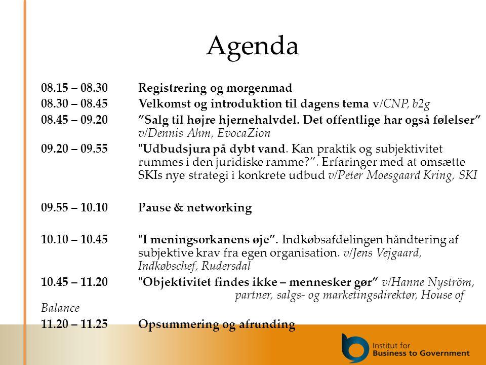 Agenda 08.15 – 08.30Registrering og morgenmad 08.30 – 08.45Velkomst og introduktion til dagens tema v/CNP, b2g 08.45 – 09.20 Salg til højre hjernehalvdel.