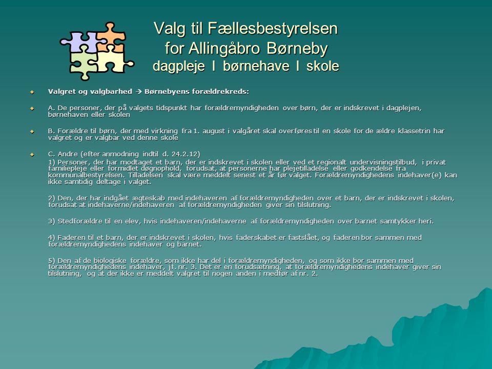 Valg til Fællesbestyrelsen for Allingåbro Børneby dagpleje l børnehave l skole  Valgret og valgbarhed  Børnebyens forældrekreds:  A.