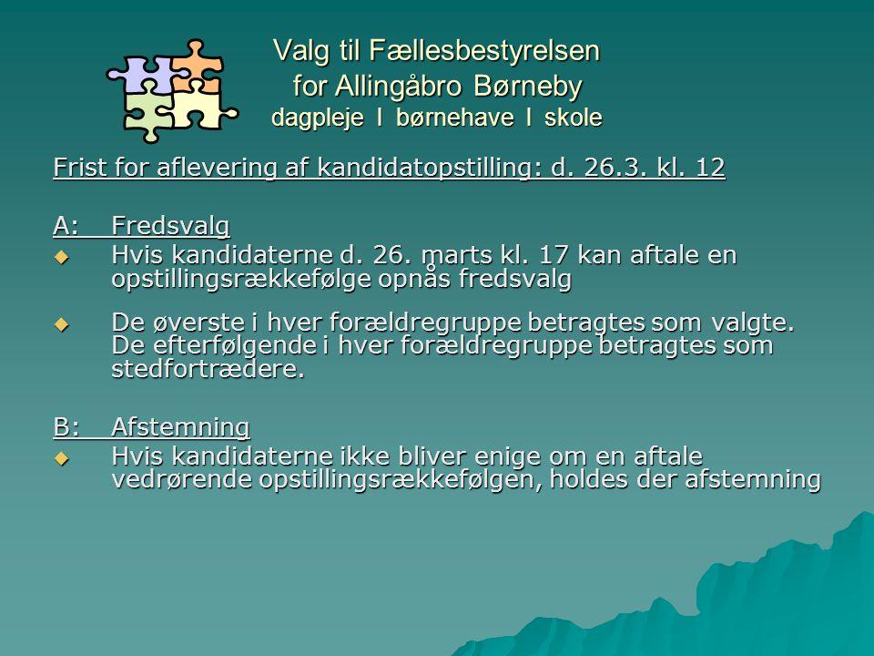 Valg til Fællesbestyrelsen for Allingåbro Børneby dagpleje l børnehave l skole Frist for aflevering af kandidatopstilling: d.