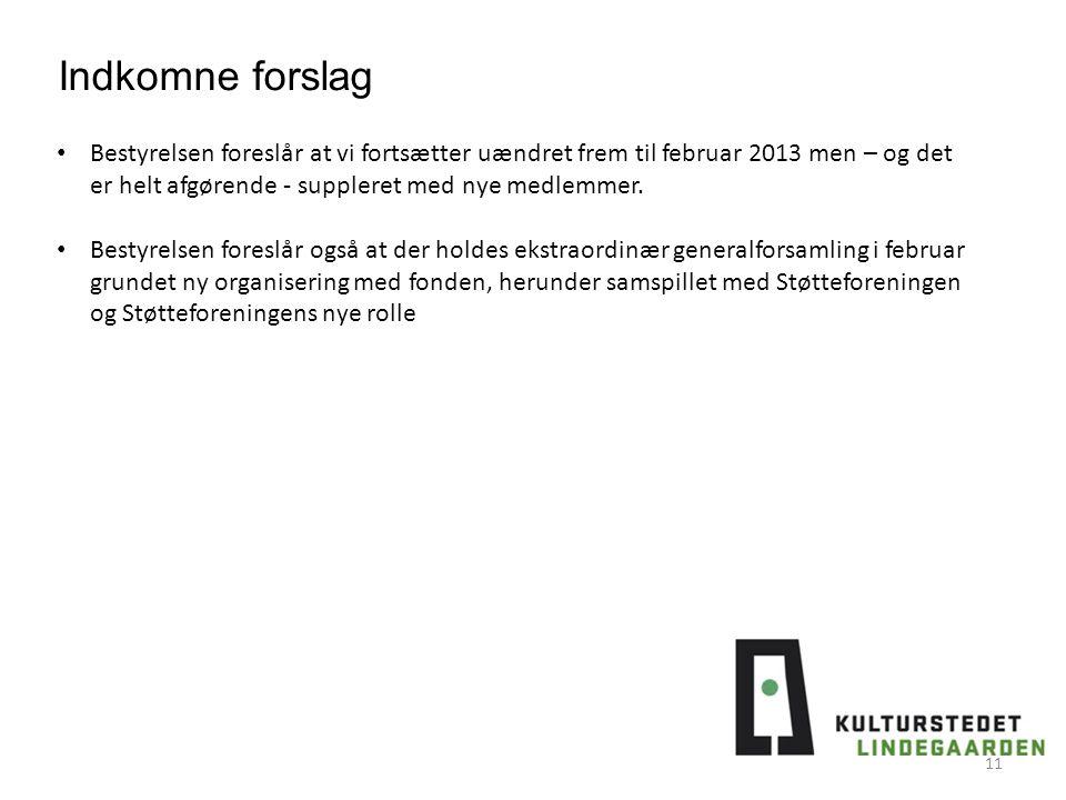 11 Bestyrelsen foreslår at vi fortsætter uændret frem til februar 2013 men – og det er helt afgørende - suppleret med nye medlemmer.