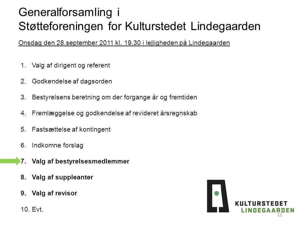 Generalforsamling i Støtteforeningen for Kulturstedet Lindegaarden 1.Valg af dirigent og referent 2.Godkendelse af dagsorden 3.Bestyrelsens beretning om der forgange år og fremtiden 4.Fremlæggelse og godkendelse af revideret årsregnskab 5.Fastsættelse af kontingent 6.Indkomne forslag 7.Valg af bestyrelsesmedlemmer 8.Valg af suppleanter 9.Valg af revisor 10.Evt.
