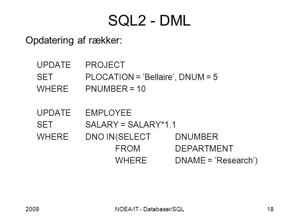 2009NOEA/IT - Databaser/SQL18 SQL2 - DML Opdatering af rækker: UPDATEPROJECT SETPLOCATION = 'Bellaire', DNUM = 5 WHEREPNUMBER = 10 UPDATEEMPLOYEE SETSALARY = SALARY*1.1 WHEREDNO IN(SELECTDNUMBER FROMDEPARTMENT WHEREDNAME = 'Research')