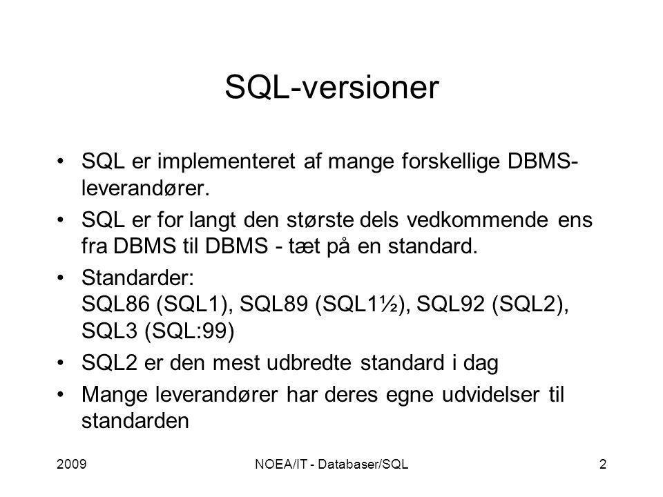2009NOEA/IT - Databaser/SQL2 SQL-versioner SQL er implementeret af mange forskellige DBMS- leverandører.
