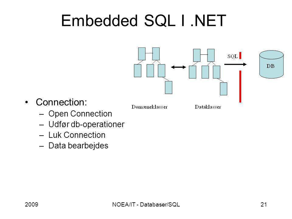 2009NOEA/IT - Databaser/SQL21 Embedded SQL I.NET Connection: –Open Connection –Udfør db-operationer –Luk Connection –Data bearbejdes