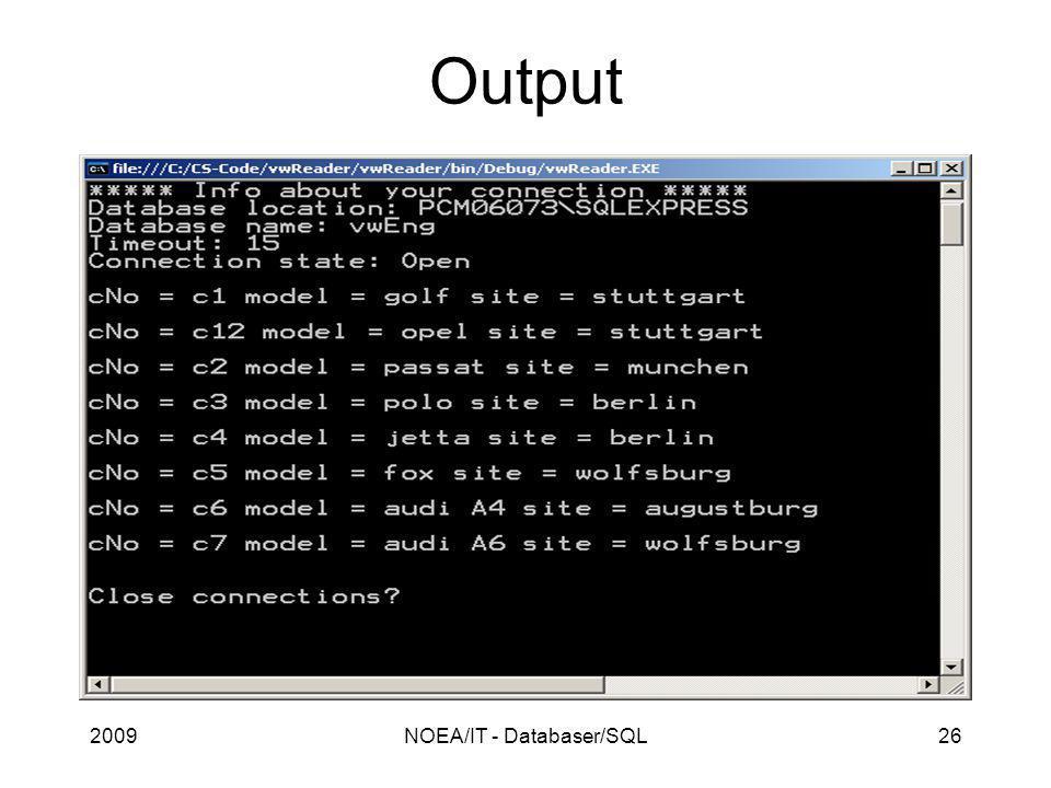 2009NOEA/IT - Databaser/SQL26 Output