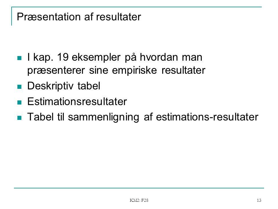 KM2: F28 13 Præsentation af resultater I kap.