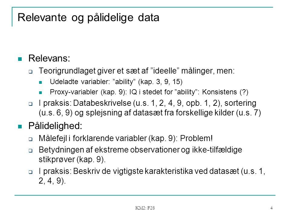 KM2: F28 4 Relevante og pålidelige data Relevans:  Teorigrundlaget giver et sæt af ideelle målinger, men: Udeladte variabler: ability (kap.