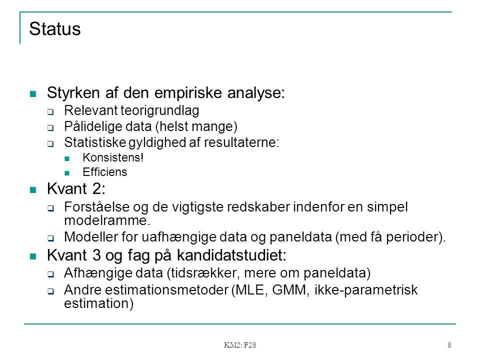 KM2: F28 8 Status Styrken af den empiriske analyse:  Relevant teorigrundlag  Pålidelige data (helst mange)  Statistiske gyldighed af resultaterne: Konsistens.