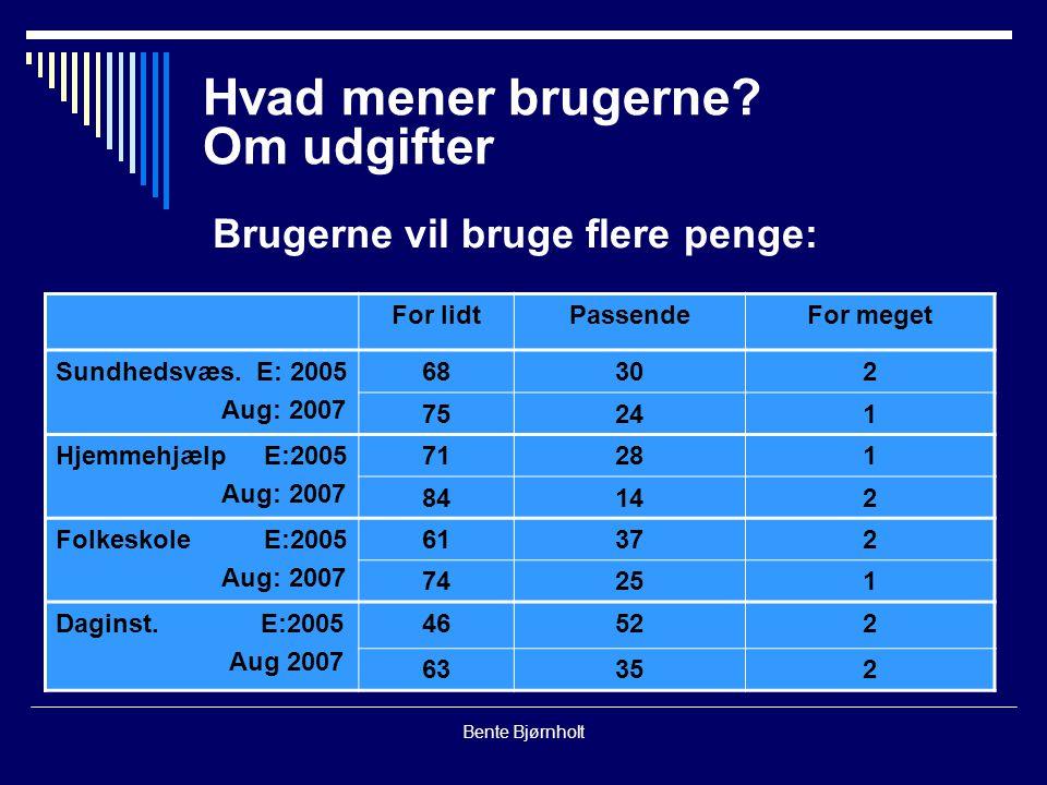 Bente Bjørnholt Hvad mener brugerne.