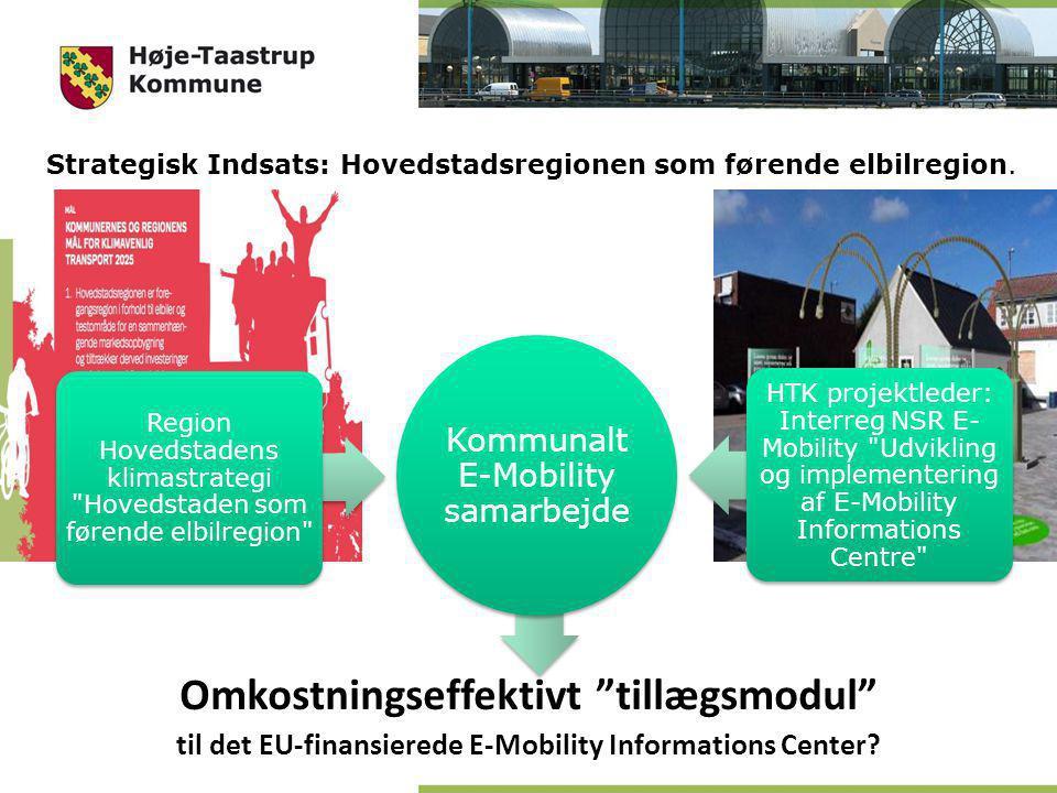 Kommunalt E-Mobility samarbejde Region Hovedstadens klimastrategi Hovedstaden som førende elbilregion HTK projektleder: Interreg NSR E- Mobility Udvikling og implementering af E-Mobility Informations Centre Strategisk Indsats: Hovedstadsregionen som førende elbilregion.
