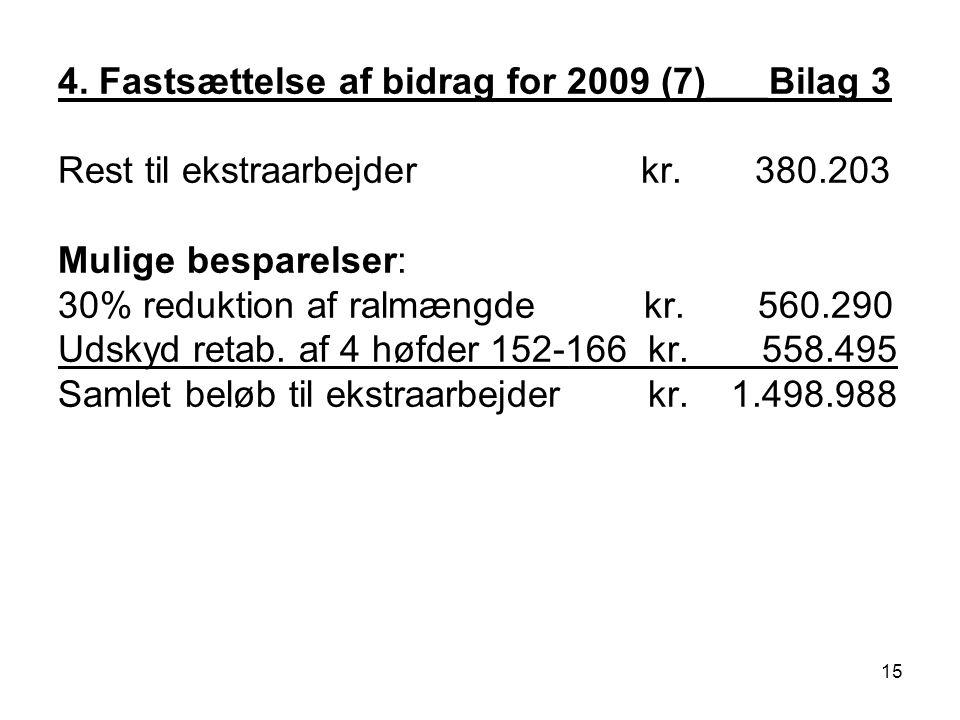 4. Fastsættelse af bidrag for 2009 (7)___Bilag 3 Rest til ekstraarbejder kr.