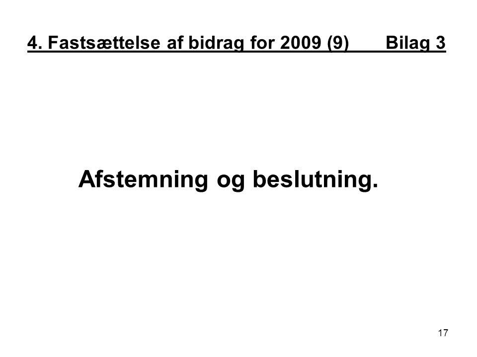 4. Fastsættelse af bidrag for 2009 (9) Bilag 3 Afstemning og beslutning. 17