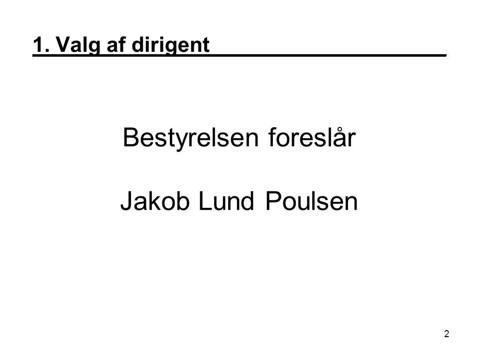 1. Valg af dirigent____________________ Bestyrelsen foreslår Jakob Lund Poulsen 2