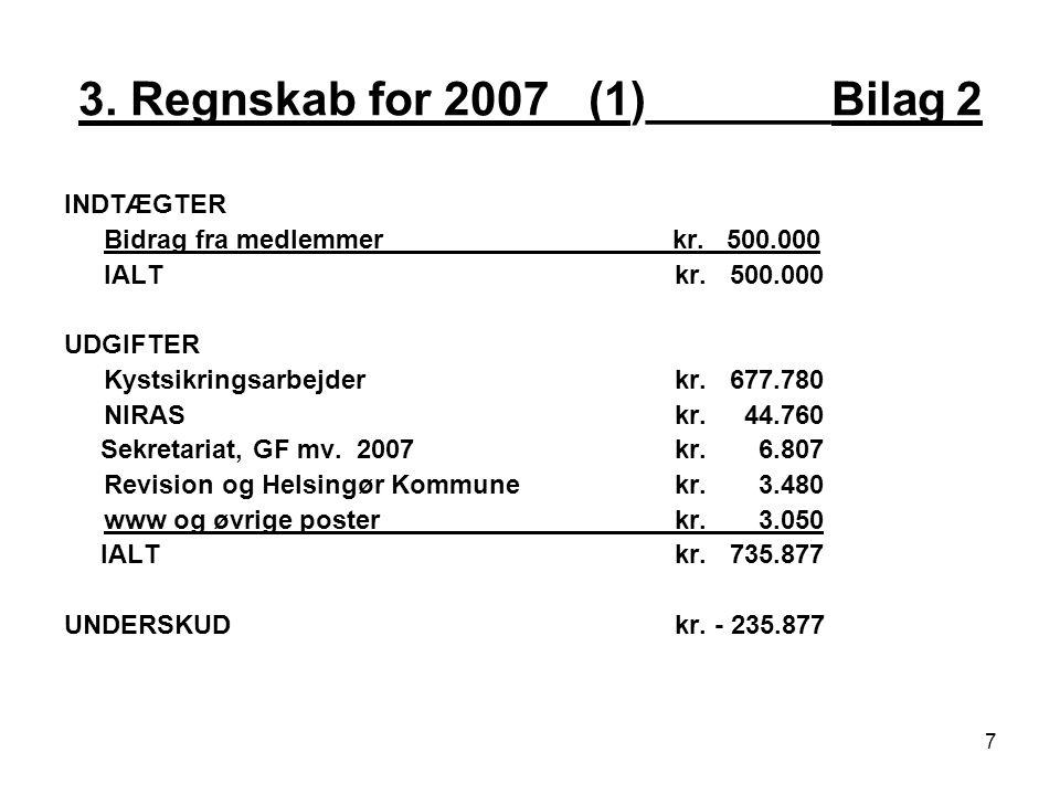 3. Regnskab for 2007 _(1)_______Bilag 2 INDTÆGTER Bidrag fra medlemmer kr.