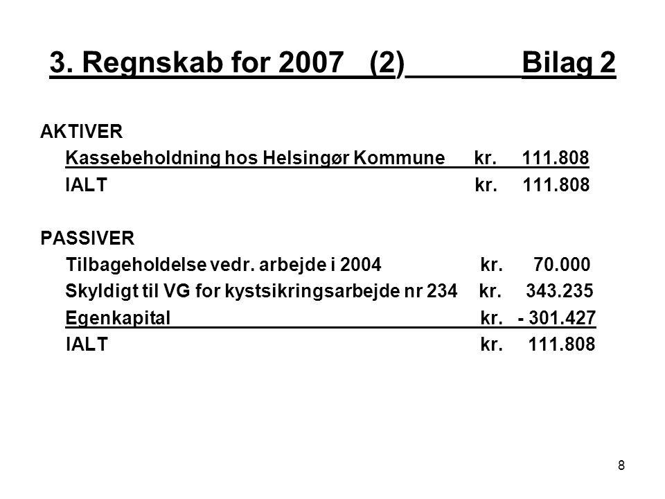 3. Regnskab for 2007 _(2)_______Bilag 2 AKTIVER Kassebeholdning hos Helsingør Kommune kr.