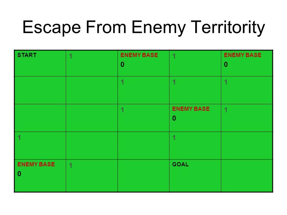 Escape From Enemy Territority START 1 ENEMY BASE 0 1 ENEMY BASE 0 111 1 ENEMY BASE 0 1 11 ENEMY BASE 0 1 GOAL