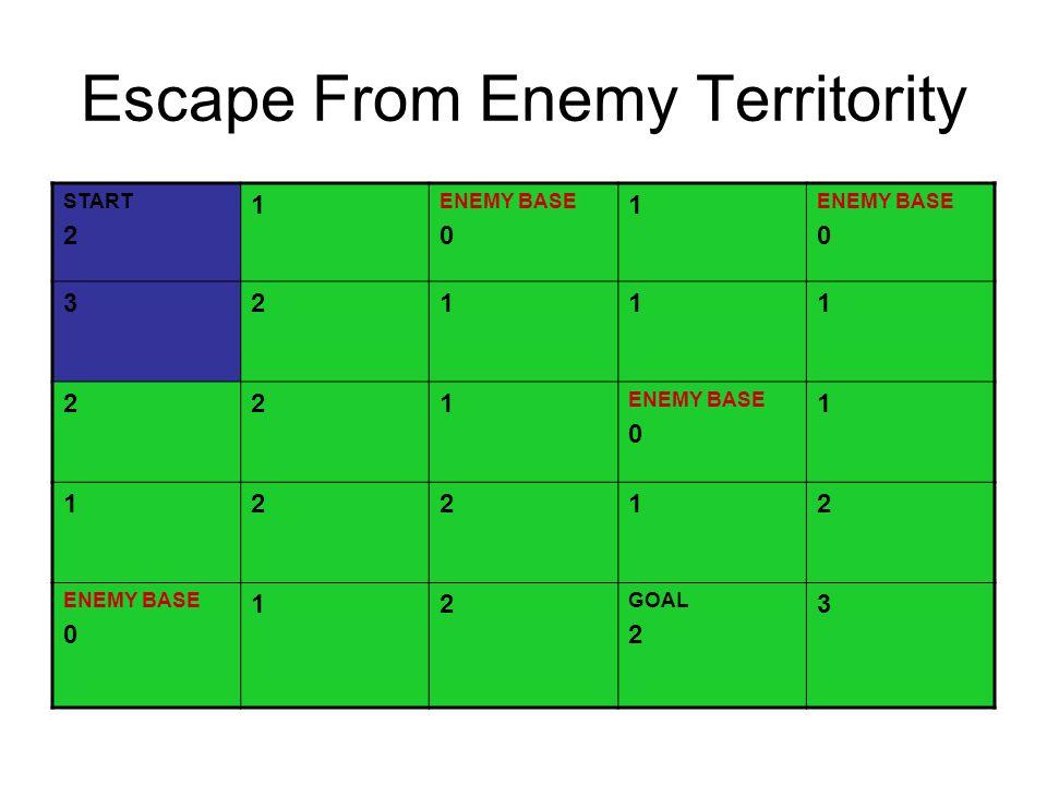 Escape From Enemy Territority START 2 1 ENEMY BASE 0 1 ENEMY BASE 0 32111 221 ENEMY BASE 0 1 12212 ENEMY BASE 0 12 GOAL 2 3