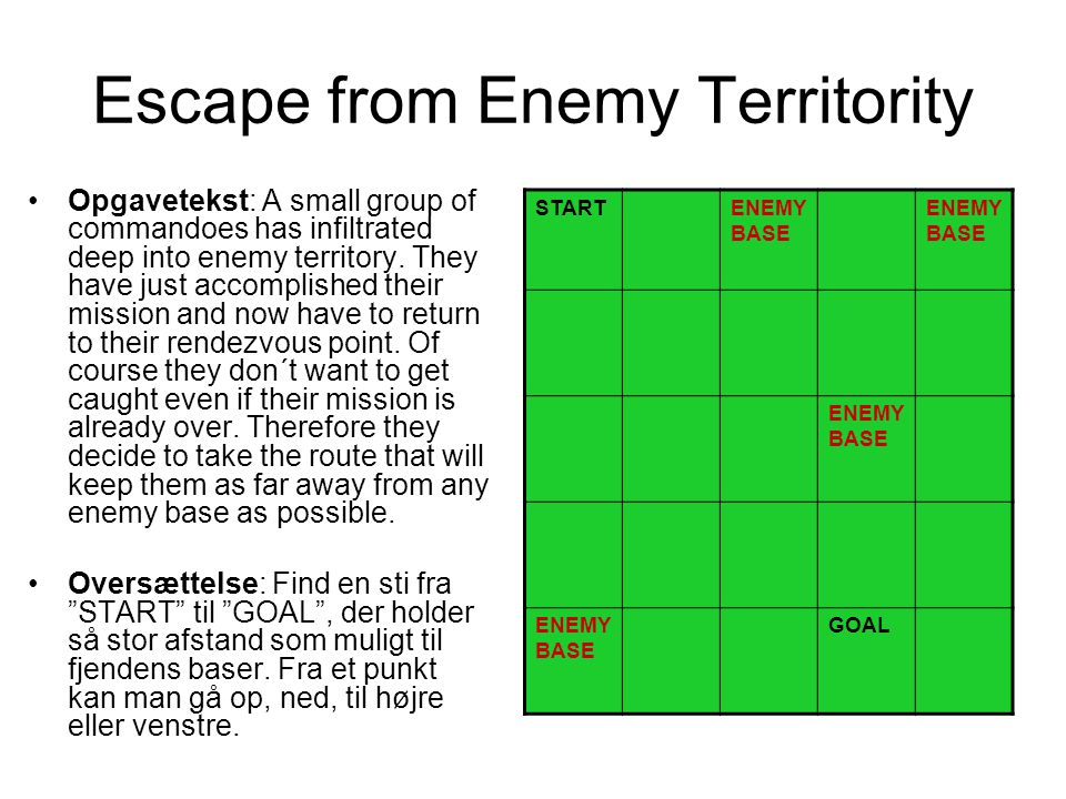 Escape from Enemy Territority Opgavetekst: A small group of commandoes has infiltrated deep into enemy territory.