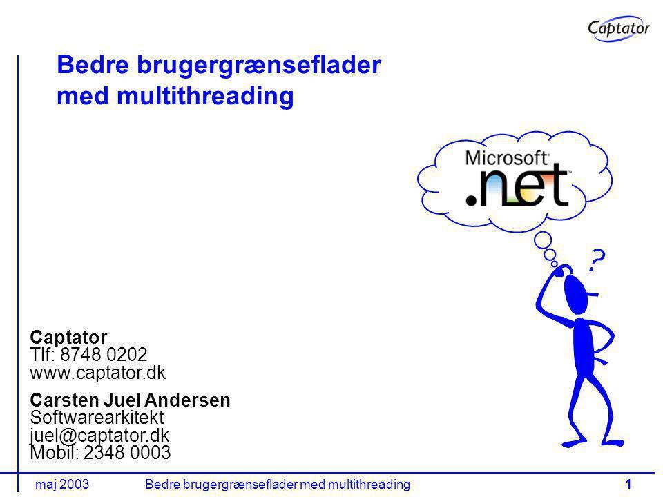maj 2003Bedre brugergrænseflader med multithreading1 Carsten Juel Andersen Softwarearkitekt juel@captator.dk Mobil: 2348 0003 Captator Tlf: 8748 0202 www.captator.dk