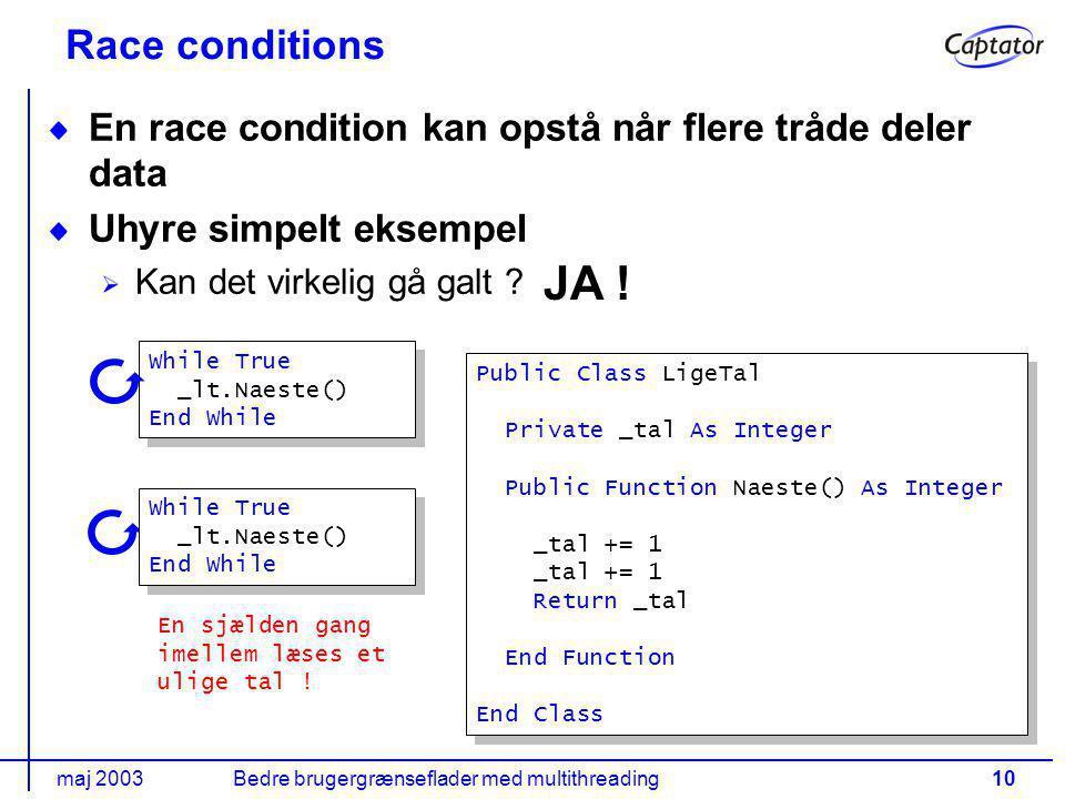maj 2003Bedre brugergrænseflader med multithreading10 Race conditions En race condition kan opstå når flere tråde deler data Uhyre simpelt eksempel Kan det virkelig gå galt .