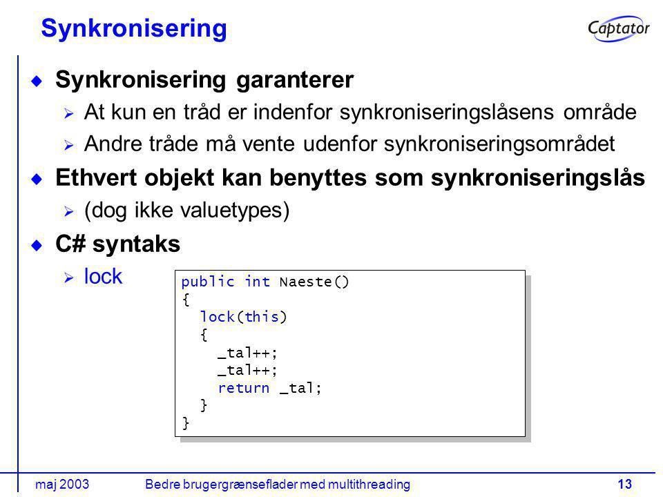 maj 2003Bedre brugergrænseflader med multithreading13 Synkronisering Synkronisering garanterer At kun en tråd er indenfor synkroniseringslåsens område Andre tråde må vente udenfor synkroniseringsområdet Ethvert objekt kan benyttes som synkroniseringslås (dog ikke valuetypes) C# syntaks lock public int Naeste() { lock(this) { _tal++; return _tal; } public int Naeste() { lock(this) { _tal++; return _tal; }