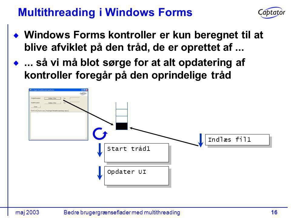 maj 2003Bedre brugergrænseflader med multithreading16 Multithreading i Windows Forms Windows Forms kontroller er kun beregnet til at blive afviklet på den tråd, de er oprettet af......