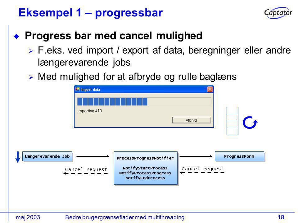 maj 2003Bedre brugergrænseflader med multithreading18 Eksempel 1 – progressbar Progress bar med cancel mulighed F.eks.