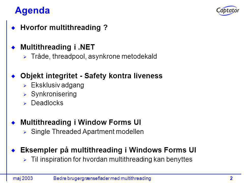 maj 2003Bedre brugergrænseflader med multithreading2 Agenda Hvorfor multithreading .