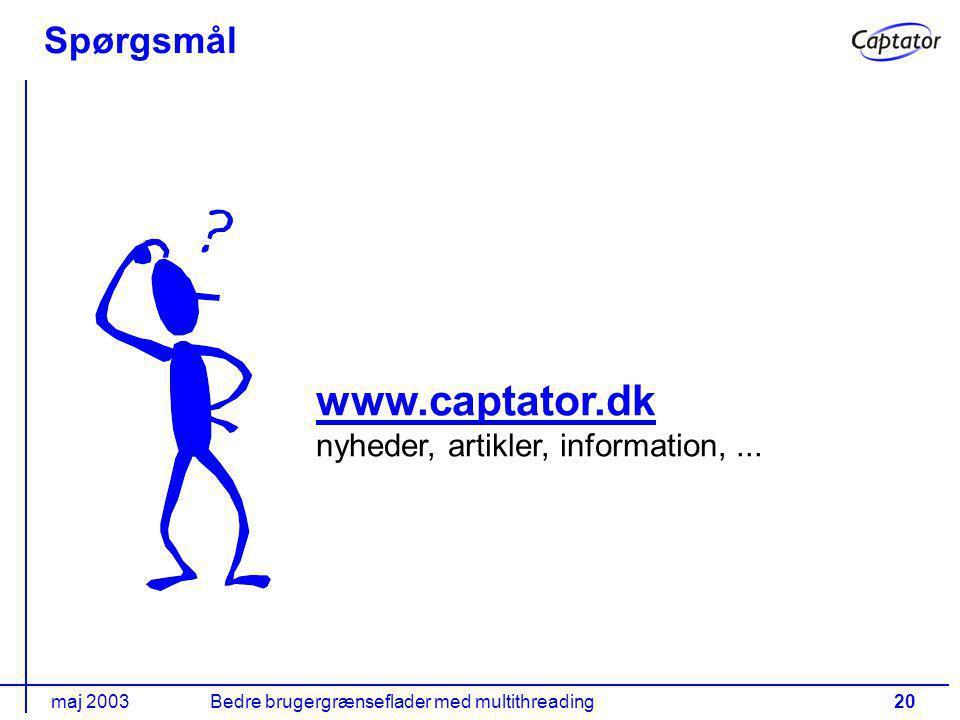 maj 2003Bedre brugergrænseflader med multithreading20 Spørgsmål www.captator.dk www.captator.dk nyheder, artikler, information,...