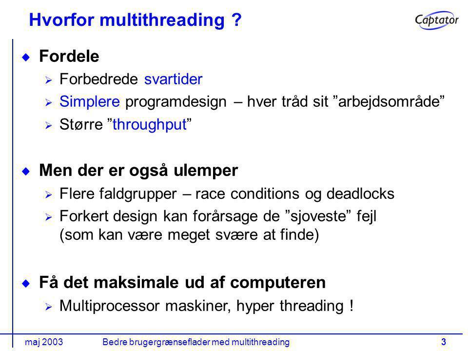 maj 2003Bedre brugergrænseflader med multithreading3 Hvorfor multithreading .