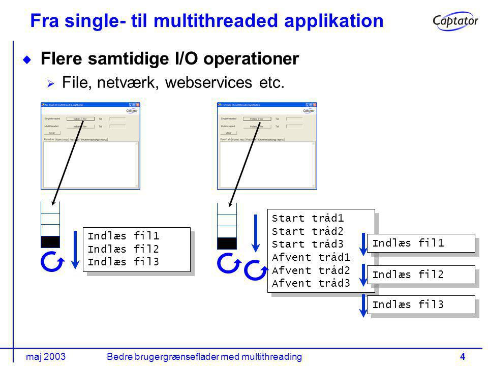 maj 2003Bedre brugergrænseflader med multithreading4 Fra single- til multithreaded applikation Flere samtidige I/O operationer File, netværk, webservices etc.