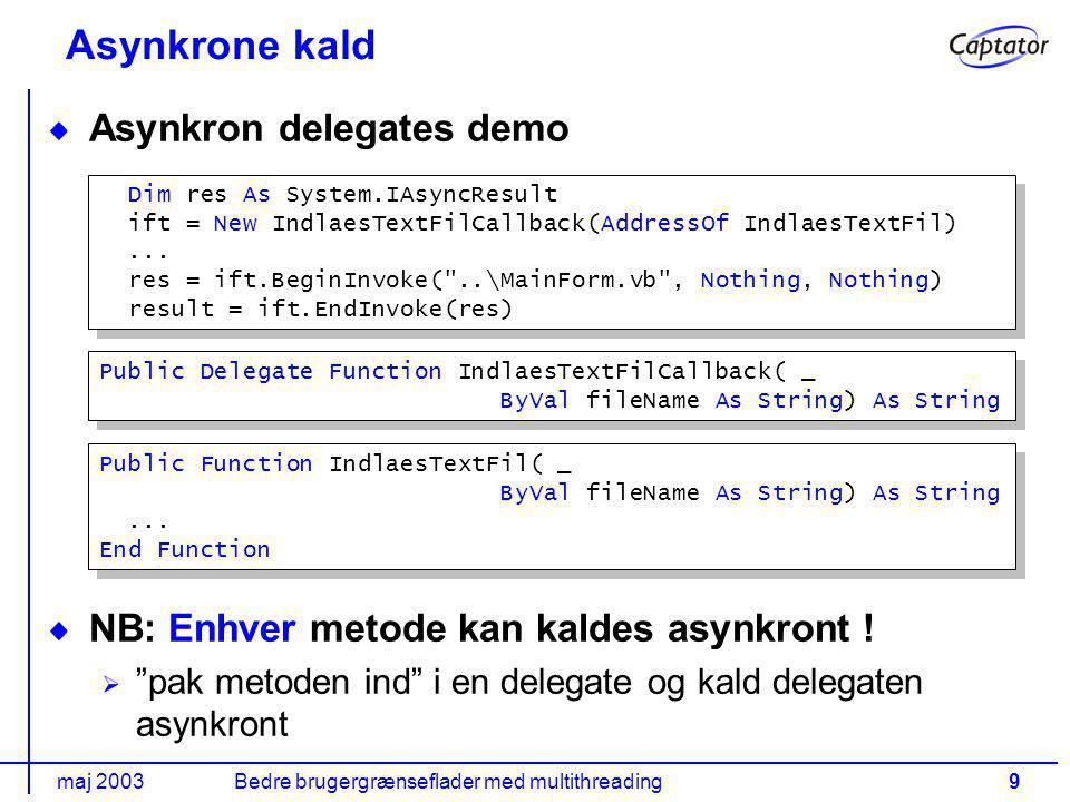 maj 2003Bedre brugergrænseflader med multithreading9 Asynkrone kald Asynkron delegates demo NB: Enhver metode kan kaldes asynkront .